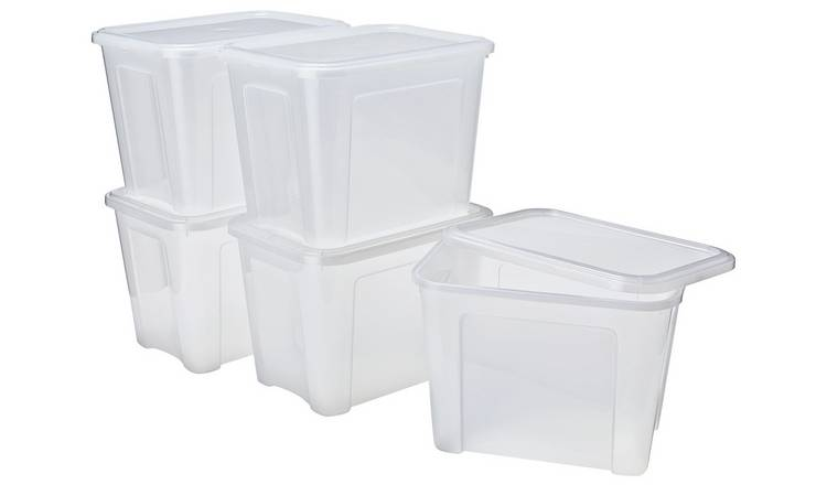 Argos Home 18 Litre Plastic Storage Box with Lid - Set of 5