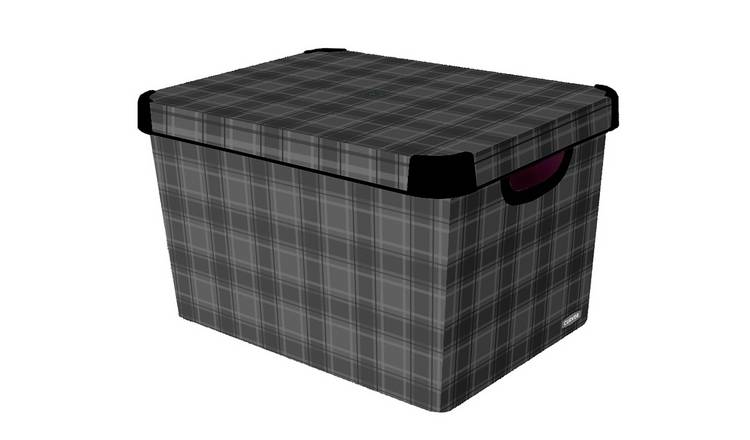 Curver Plastic 20 Litres Deco Box - Grey Check