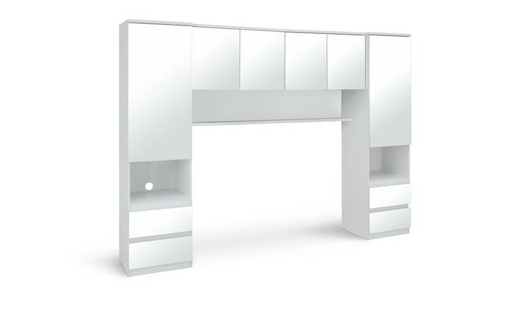 Argos Home Jenson Mirrored Overbed Unit - White Gloss