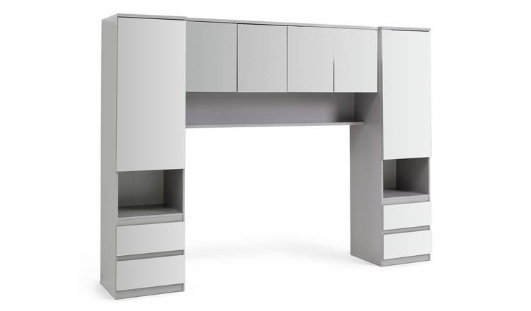 Argos Home Jenson Mirrored Overbed Unit - Grey Gloss