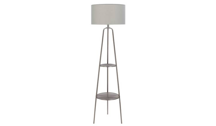 Argos Home Shelved Floor Lamp - Brushed Chrome