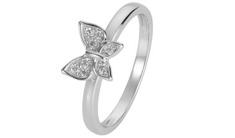 Revere Sterling Silver Cubic Zirconia Butterfly Ring - L