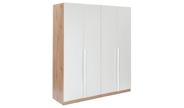 Habitat Munich 4 Door Wardrobe - White & Oak Effect