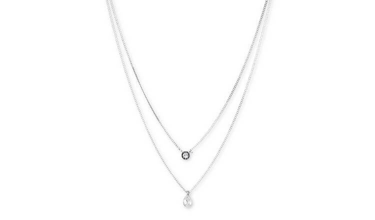 DKNY Silver Colour Cubic Zirconia Layered Charm Necklace