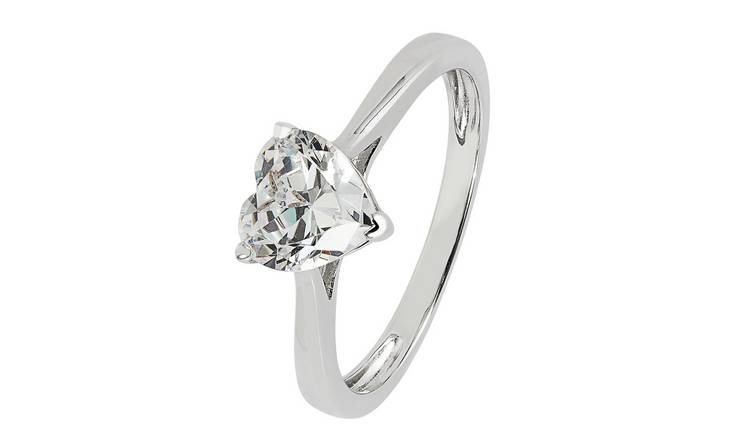 Revere Sterling Silver Heart Cut Cubic Zirconia Ring - N