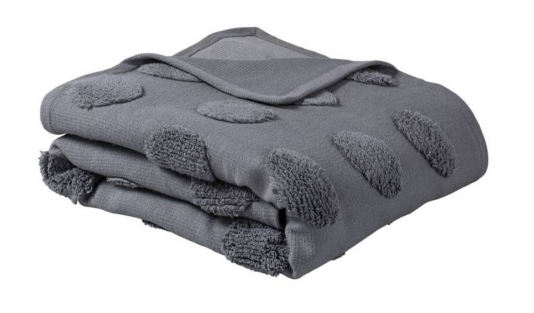 Argos Home Tufted Spot Handwoven Throw - 125x150cm - Grey