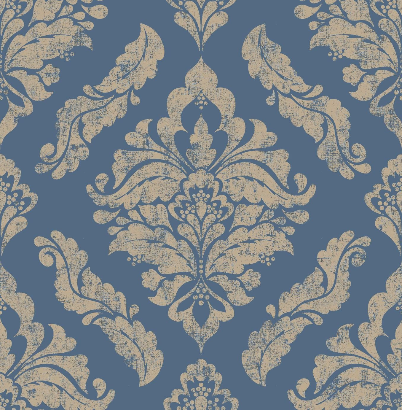 Image of Graham & Brown Boutique Damaris Wallpaper Blue Gold