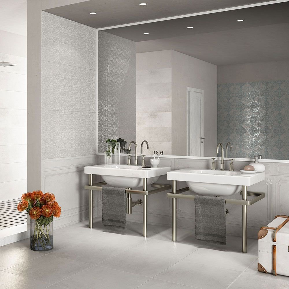 Image of Matt Rectangular Porcelain Stone Effect Wall and Floor Tile - Grey