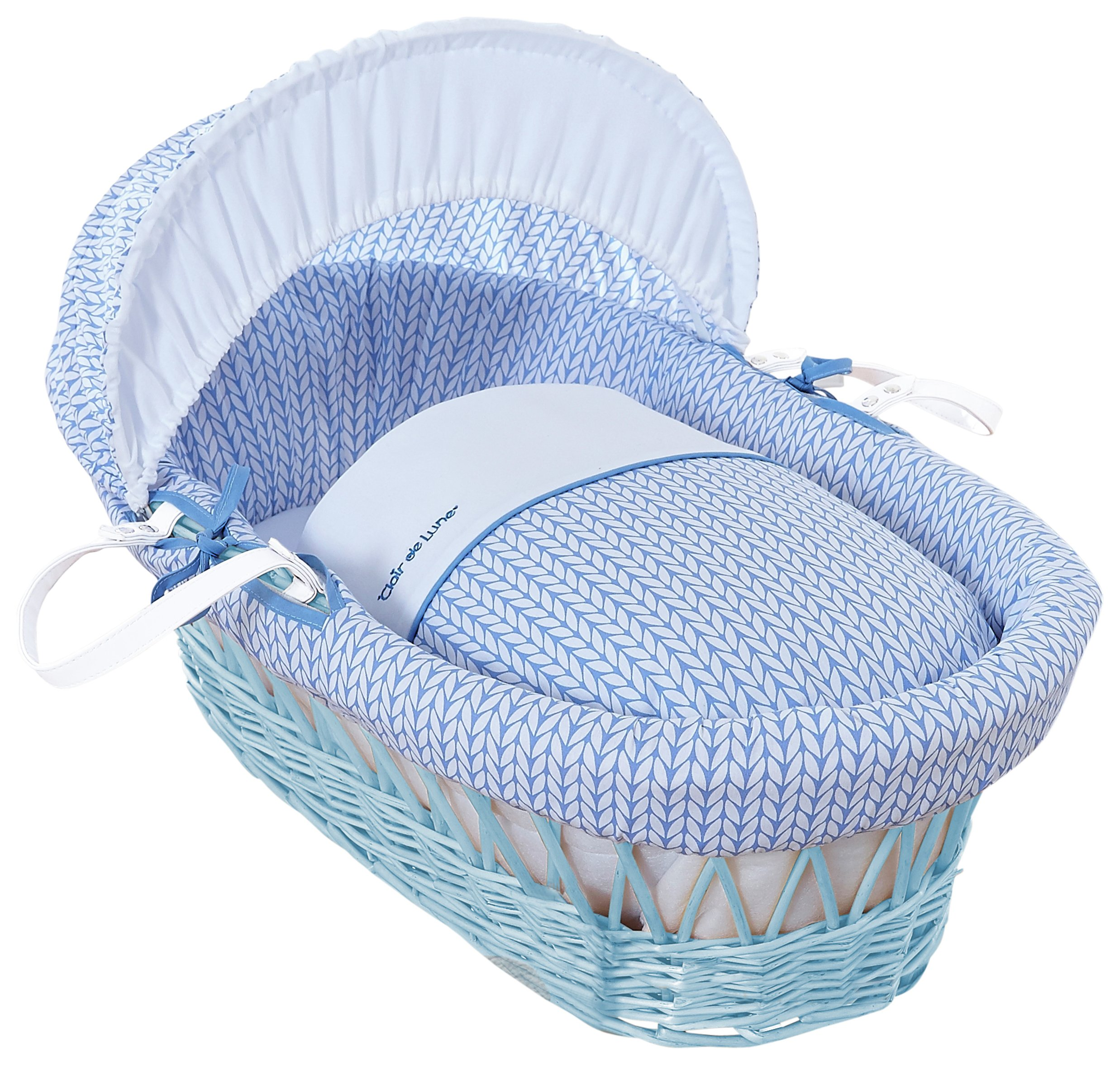 Image of Clair de Lune Blue Barley B??b?? Blue Wicker Moses Basket