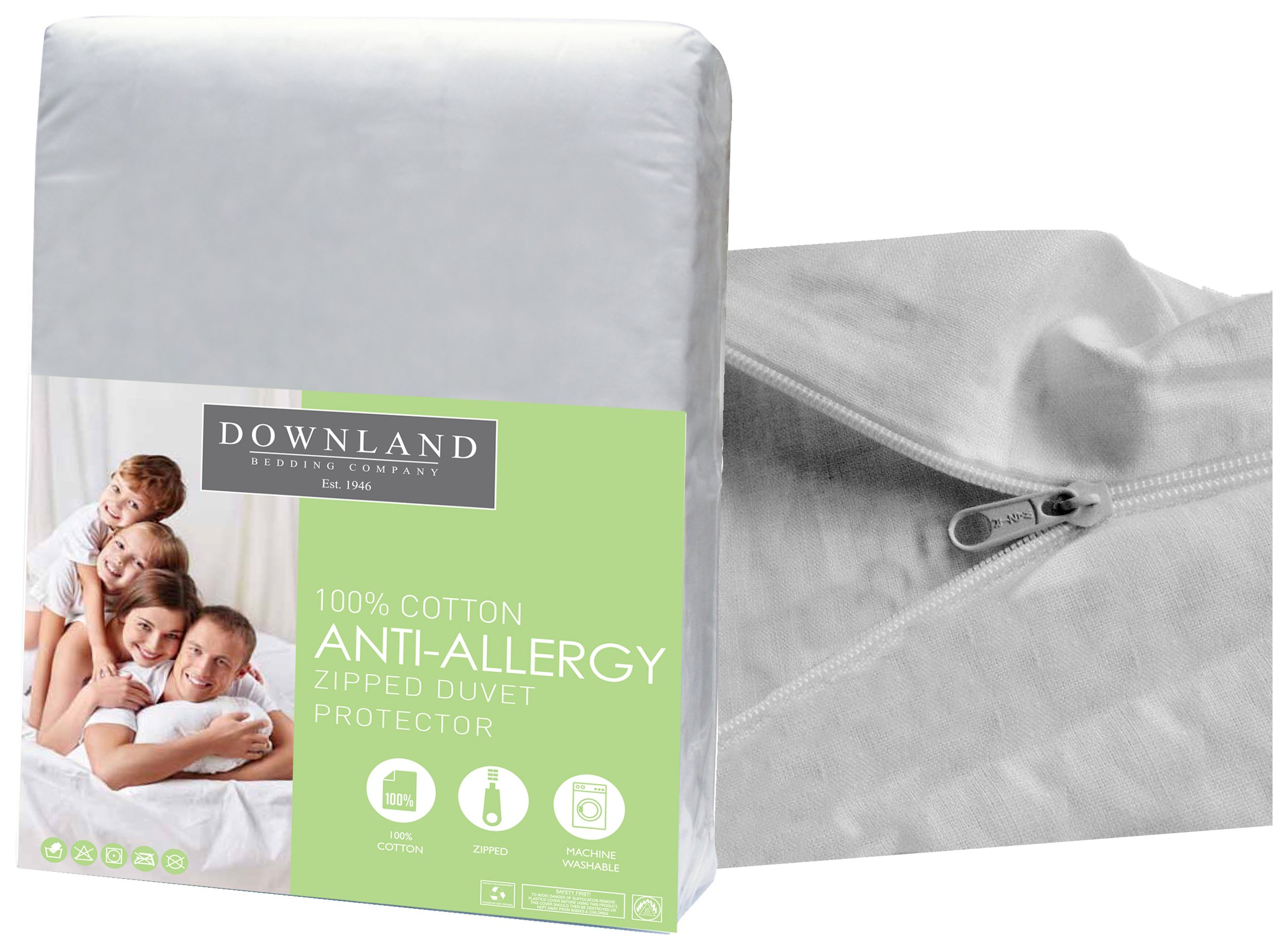 downland zipped anti allergy duvet protector  single