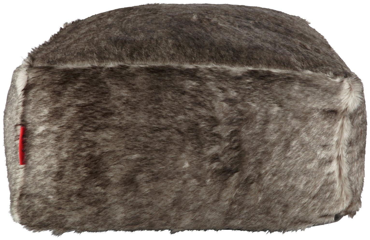 Argos Home Faux Fur Slab Beanbag - Grey