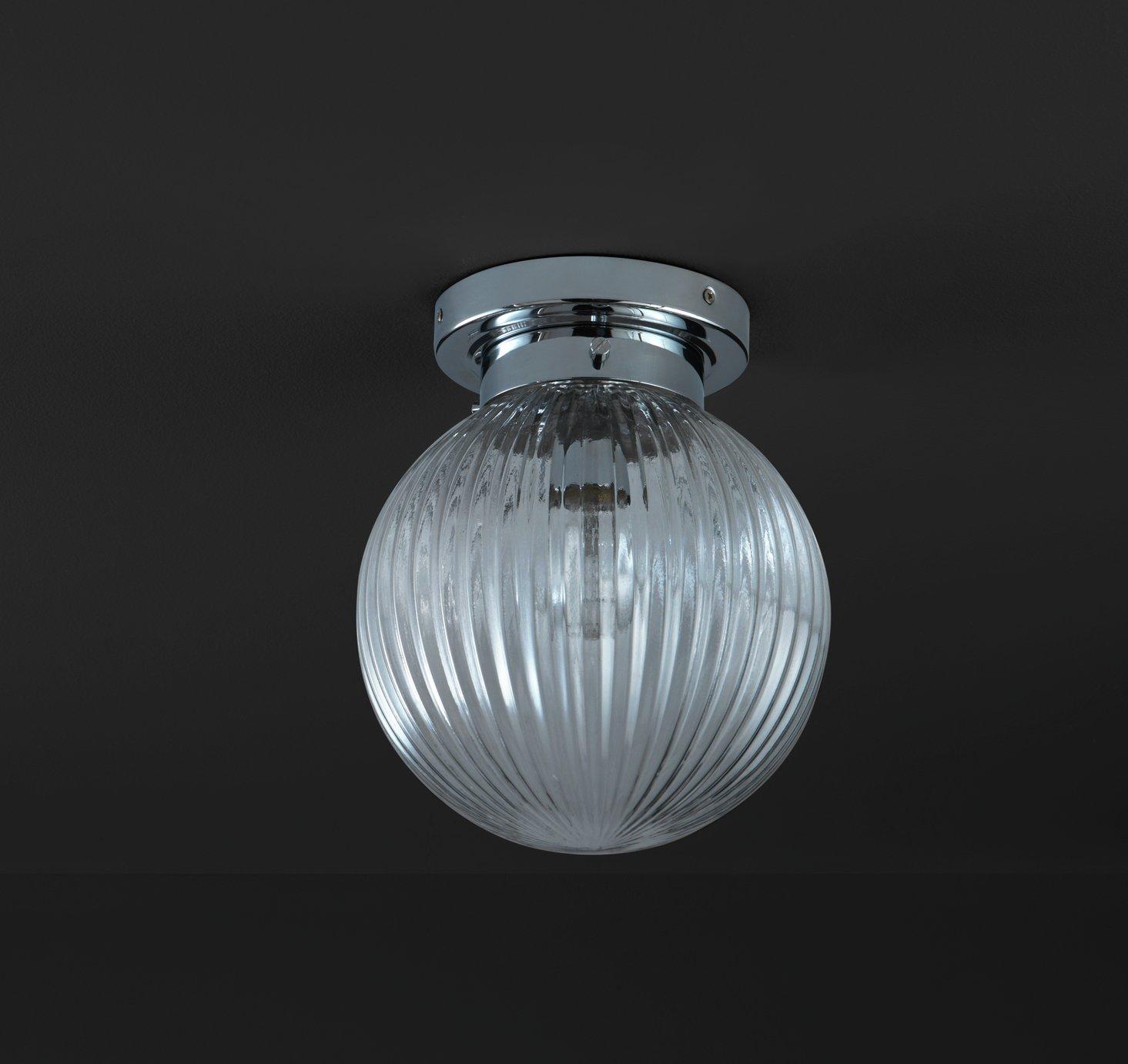 Argos Home Kerridge Ribbed Glass Bathroom Ceiling Light
