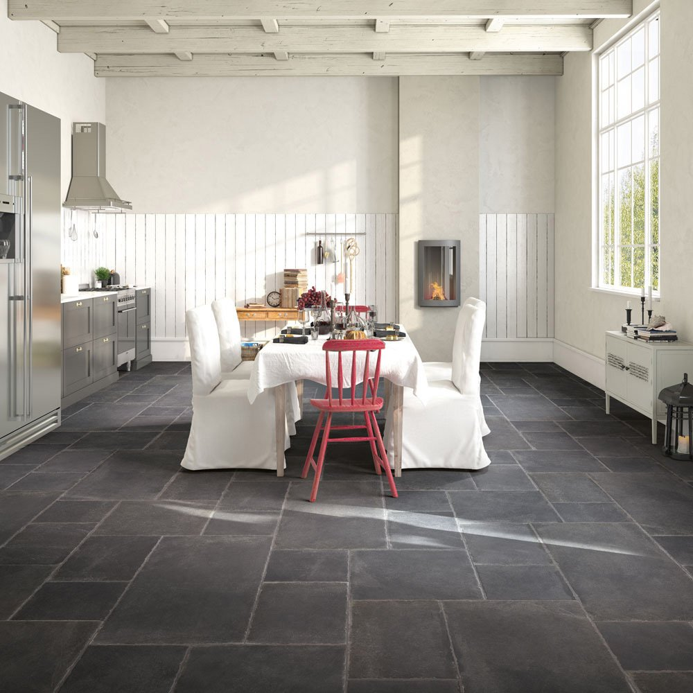 Porcelain Concrete Effect Floor Tile - Black - 8 Tiles Per Box