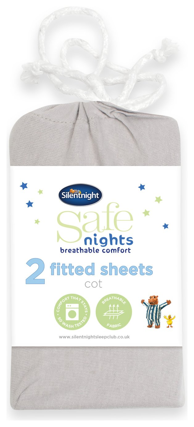 Silentnight Fitted Cot Sheet 2 Pack - Grey