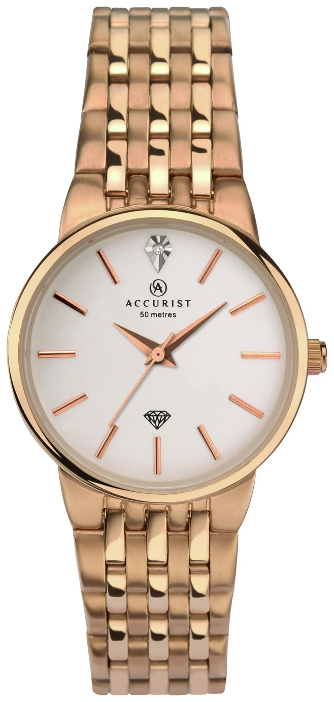 Image of Accurist Ladies' Rose Gold Plated Diamond Bracelet Watch