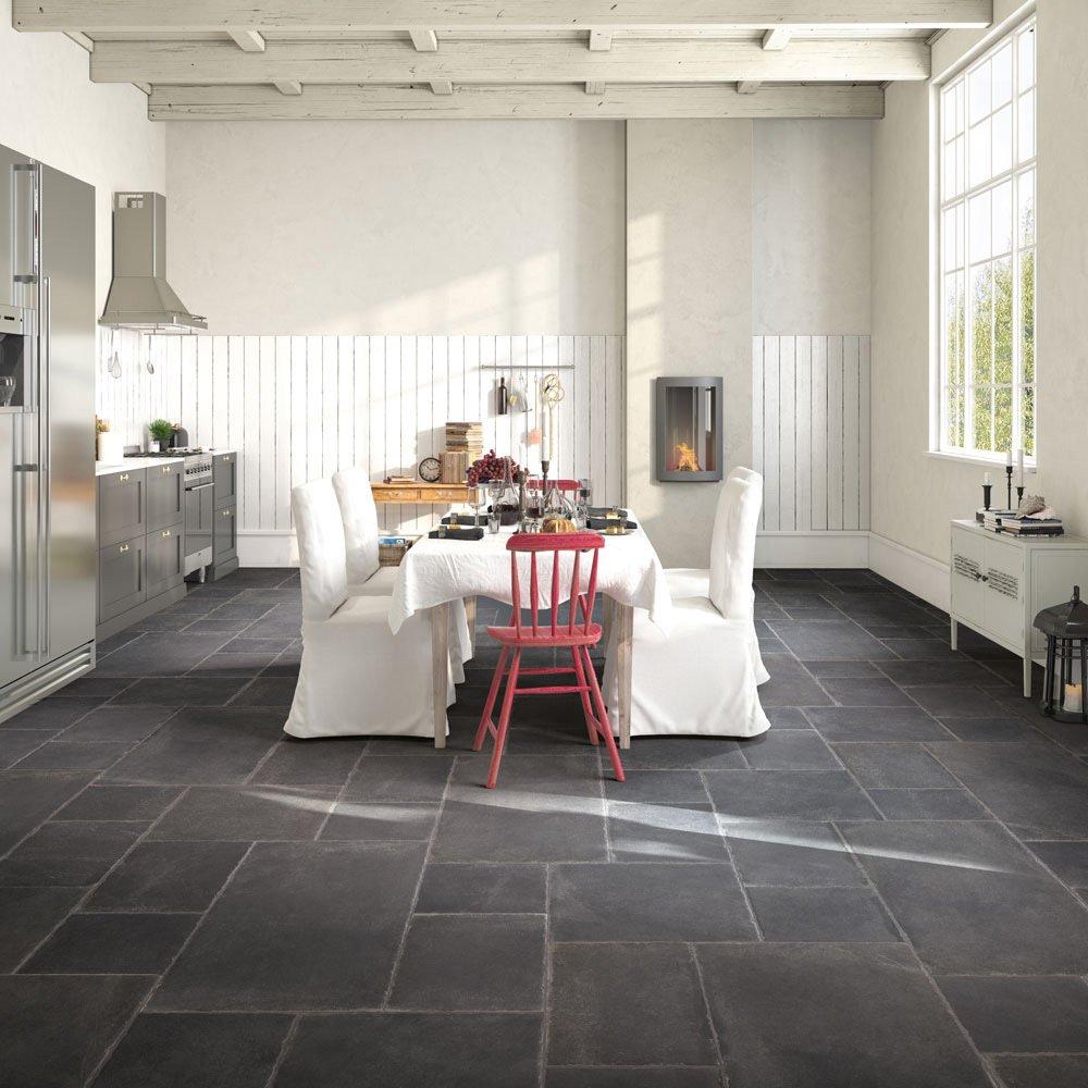 Image of Porcelain Concrete Effect Floor Tile - Black - 6 Tiles Per Box