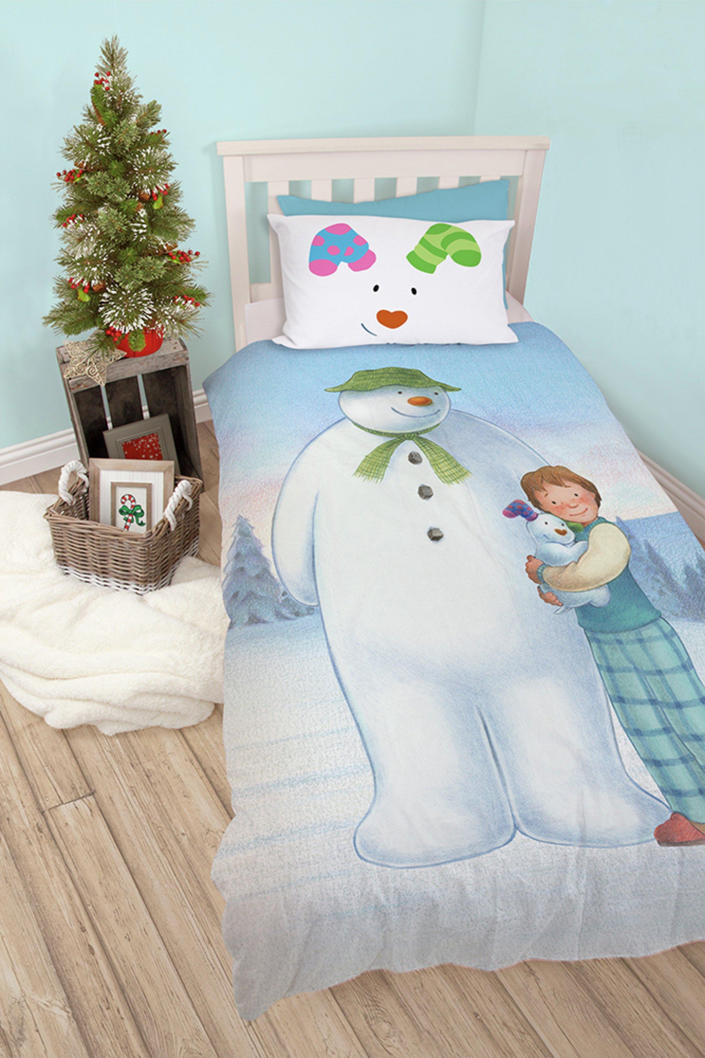 snowman and snowdog wonderland christmas bedding set  single