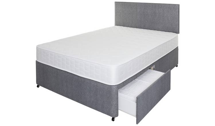 Argos Home Elmdon Memory 2 Drawer Double Divan - Grey