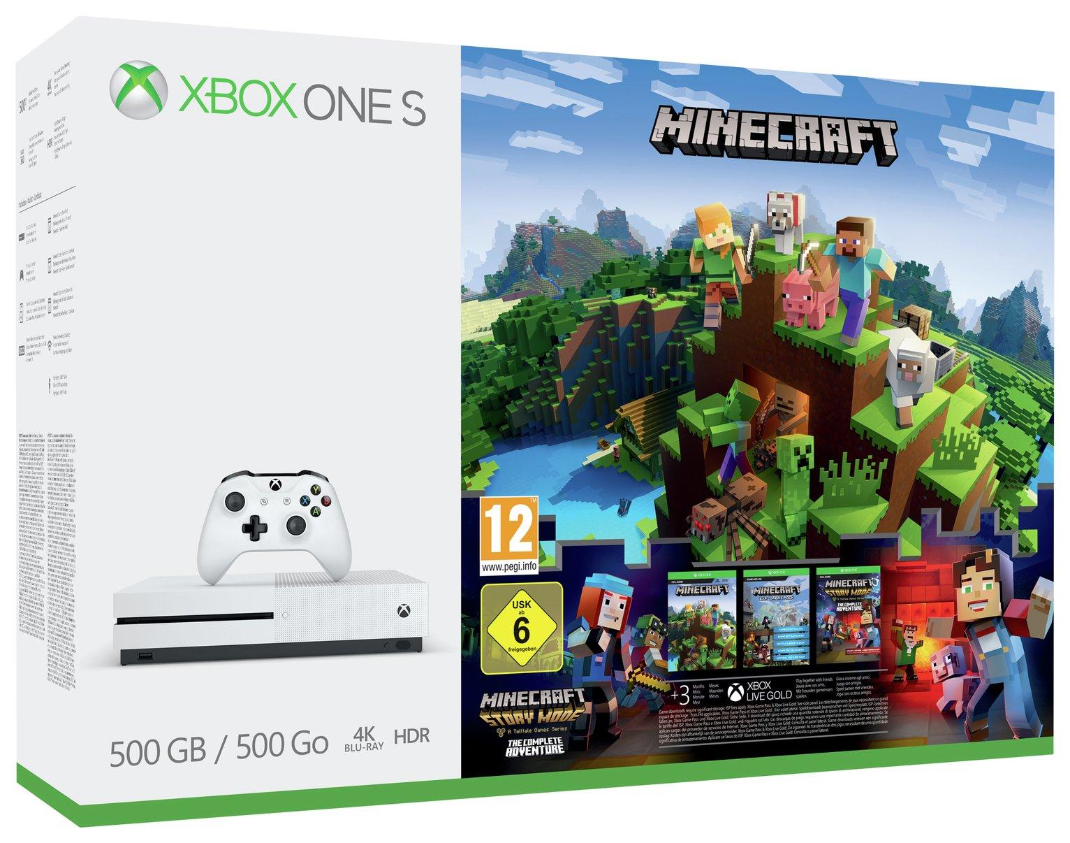 Xbox One S 500GB Minecraft Complete Adventure Console Bundle