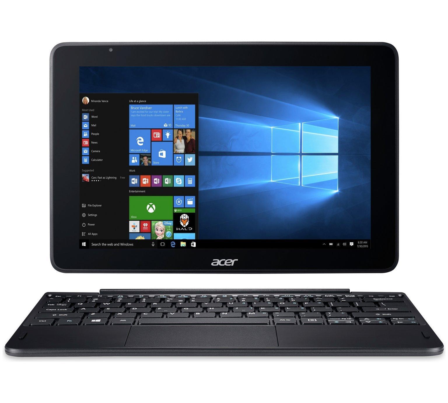 Acer One 10.1 Inch Intel Atom 2GB 64GB 2 in 1 Laptop - Black