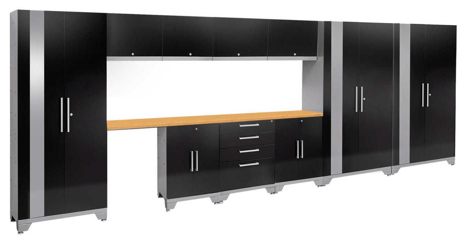 Image of Performance 2.0 Black 12 piece Garage Set - 11 Shelves