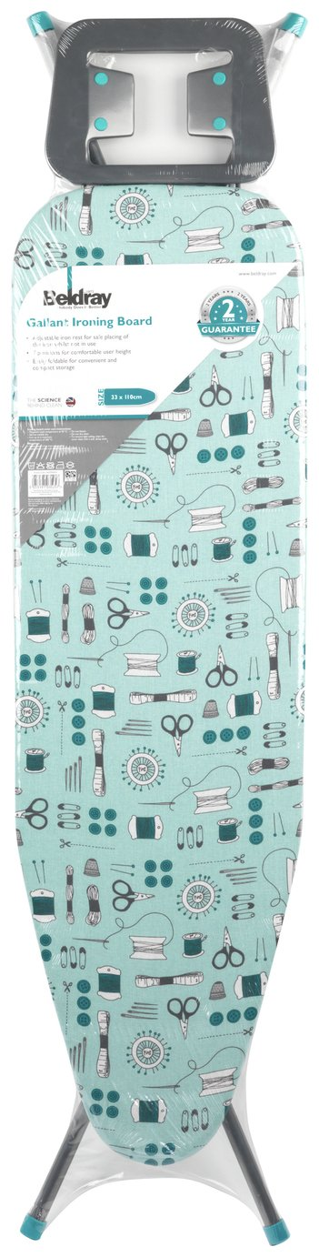 Beldray 110 x 33cm Sewing Print Ironing Board - Teal