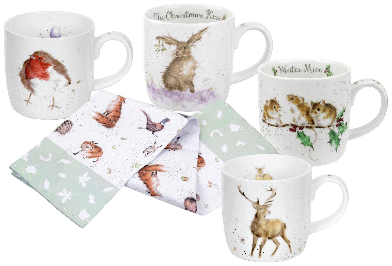 Royal Worcester Set of 4 Wrendale Christmas Mugs & Tea Towel review