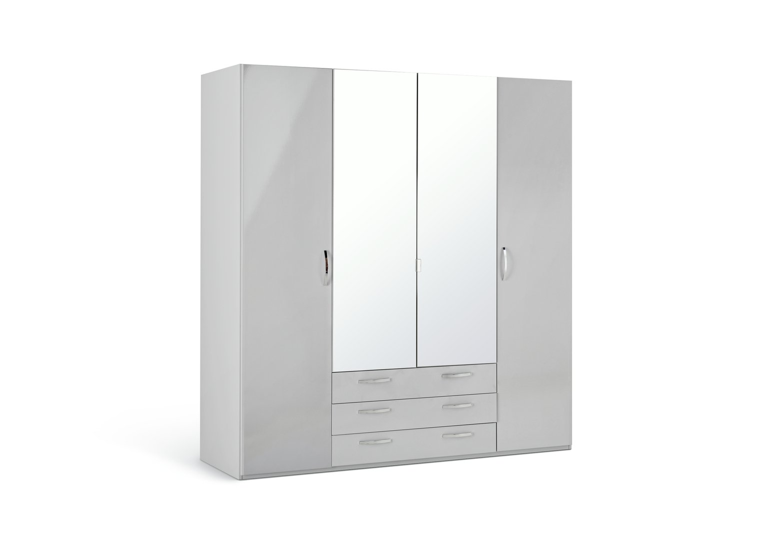 Argos Home New Hallingford 4 Dr 3 Drw Mirror Gloss Wardrobe