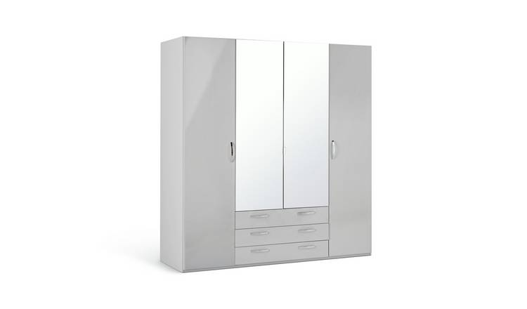 Argos Home Hallingford 4 Dr 3 Drw Mirrored Wardrobe - Grey