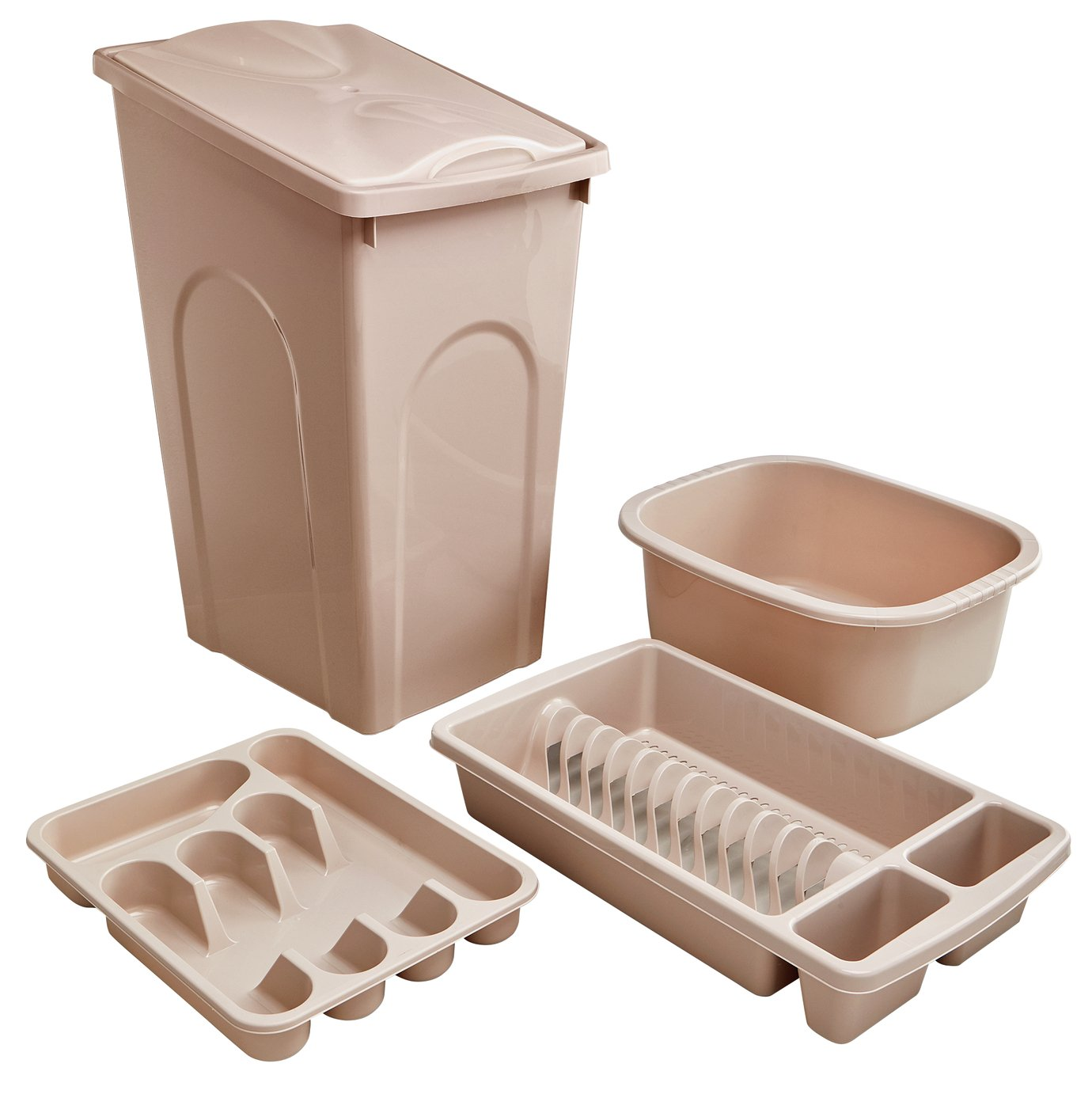 Image of HOME 4 Piece 50L Kitchen Bin Set - Natural