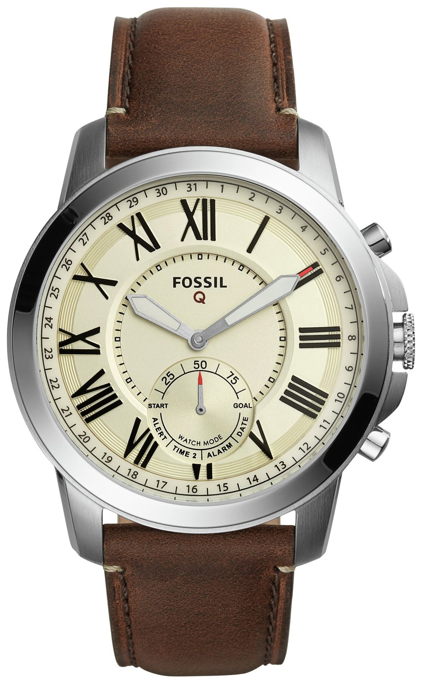 Image of Fossil Q Grant Leather Strap Hybrid Smart Watch