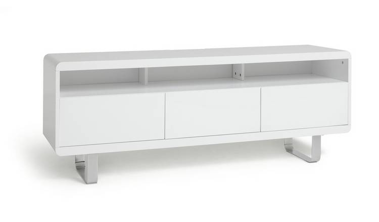 Habitat Sleigh 2 Door 1 Drawer TV Unit  - White Gloss