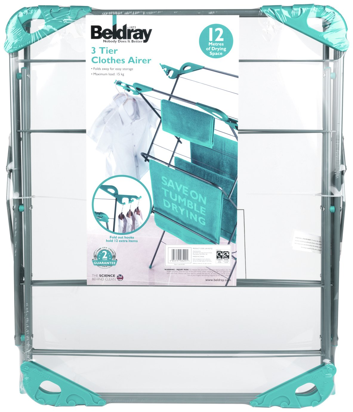 Image of Beldray 12m 3 Tier Indoor Clothes Airer - Turqoise