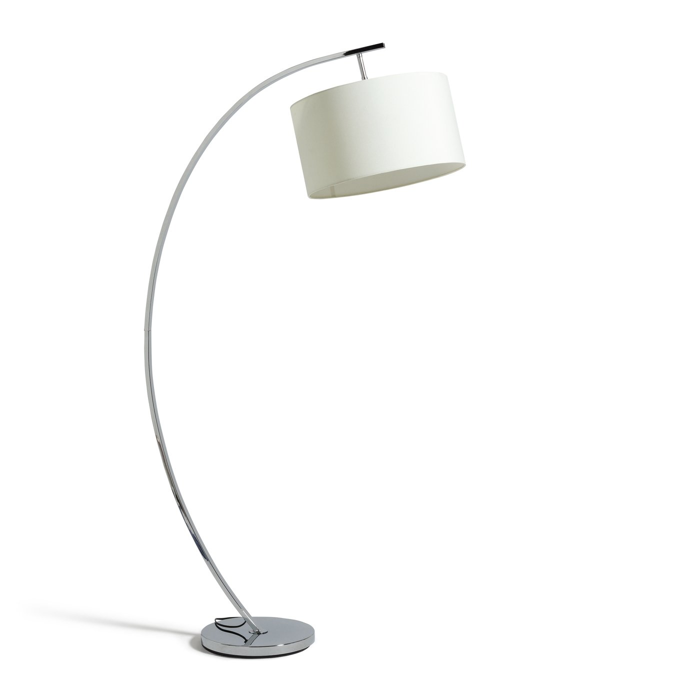 Argos Home Clane Chrome Arch Floor Lamp   Cream by Argos