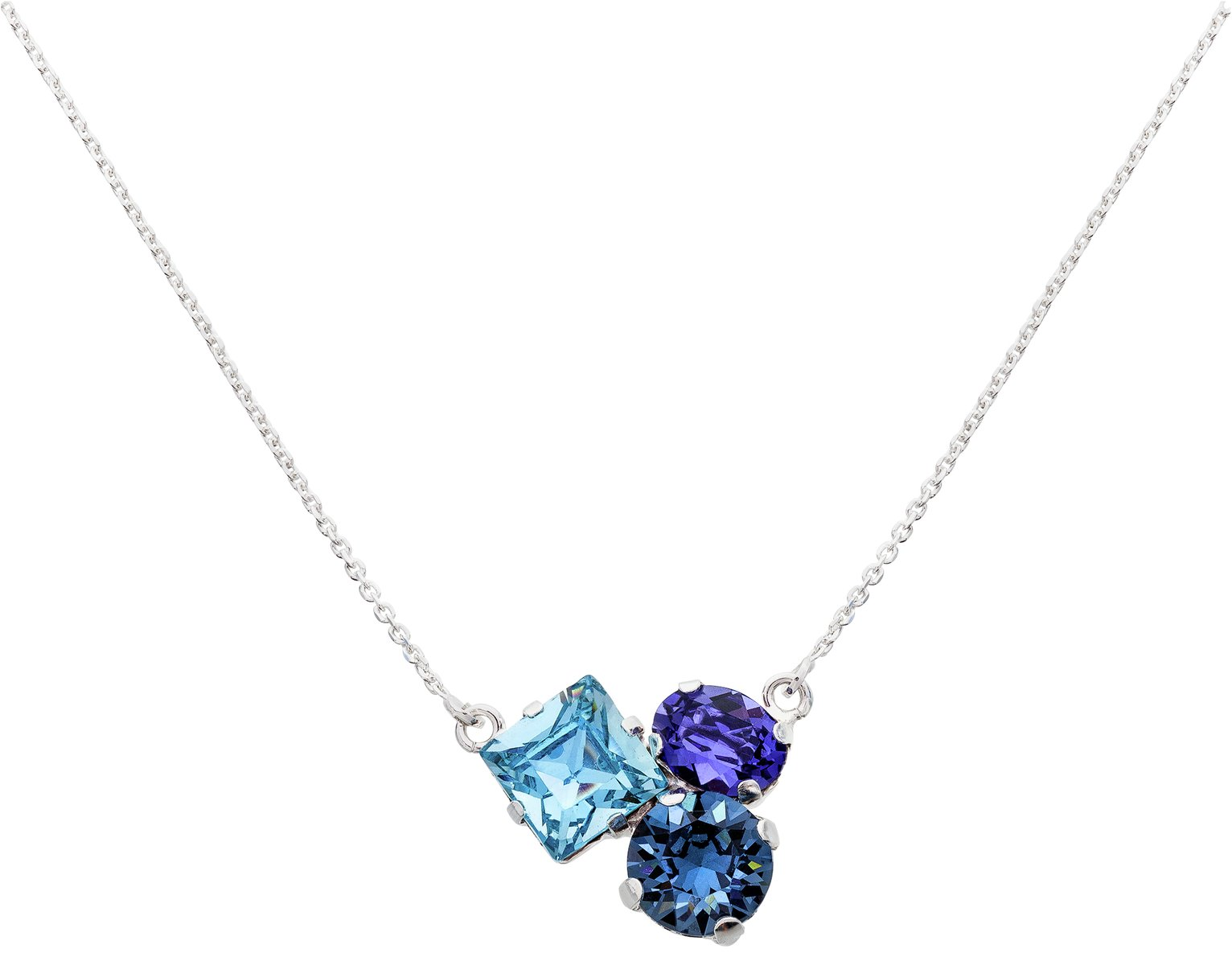 Image of Davvero Sterling Silver Blue Swarovski Crystal Necklace