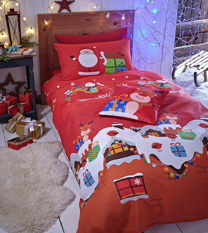 catherine lansfield santa christmas present duvet cover set