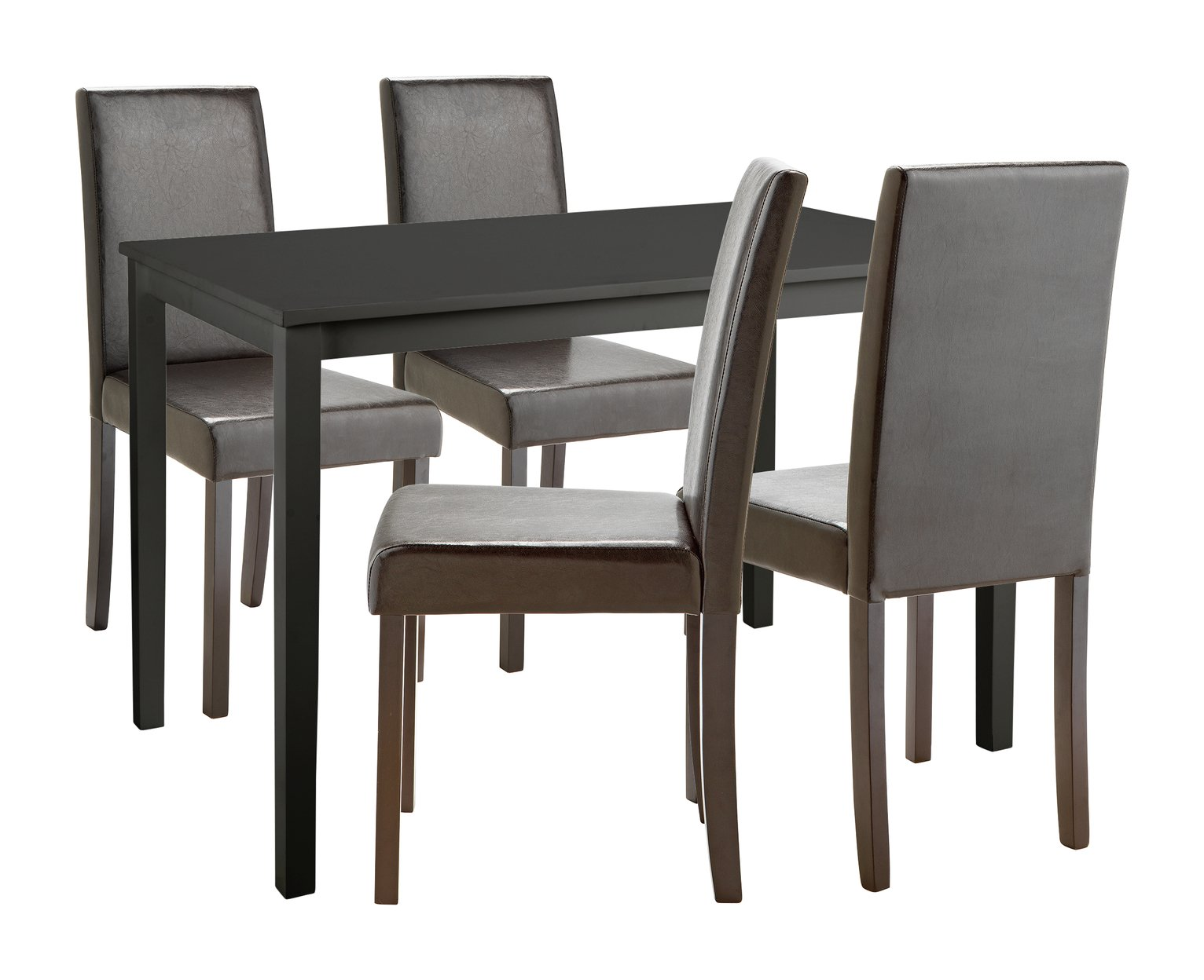 Image of HOME Alcott Dining Table & 4 Chairs - Black