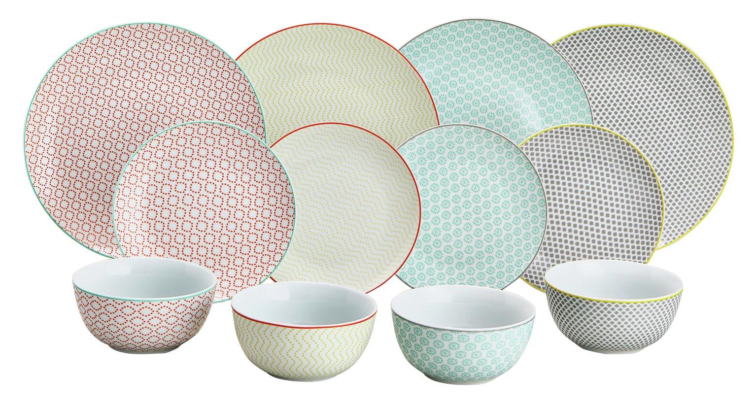 Argos Home Tilda 12 Piece Dinner Set - Multicoloured