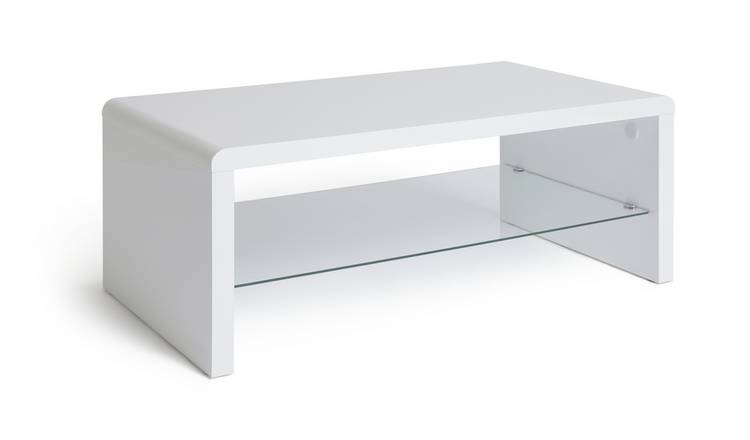 Habitat Sleigh 1 Shelf Coffee Table - White Gloss