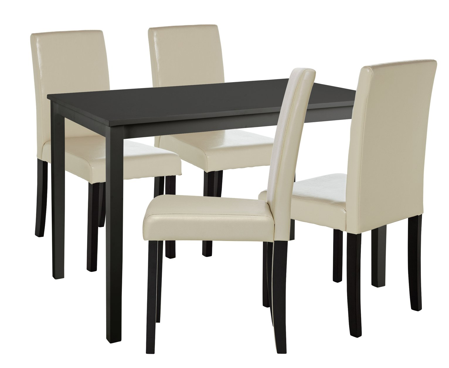 Image of HOME Alcott Dining Table & 4 Chairs - Cream