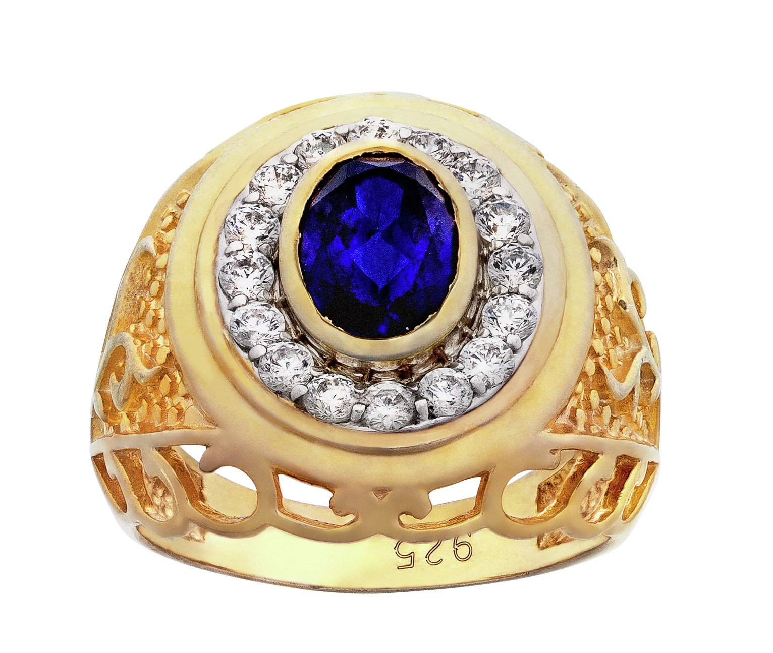 Image of Revere Men's Gold Plated Silver Created Sapphire and CZ Ring