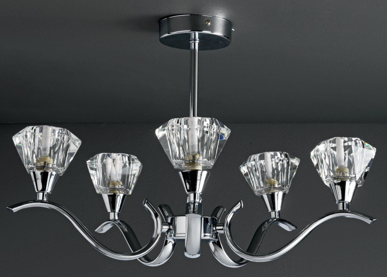 Argos Home Hadley 5 Light Glass Ceiling Shade - Chrome