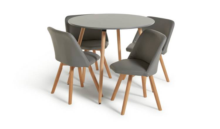 Buy Argos Home Quattro Grey Dining Table & 4 Grey Chairs | Space saving  dining sets | Argos