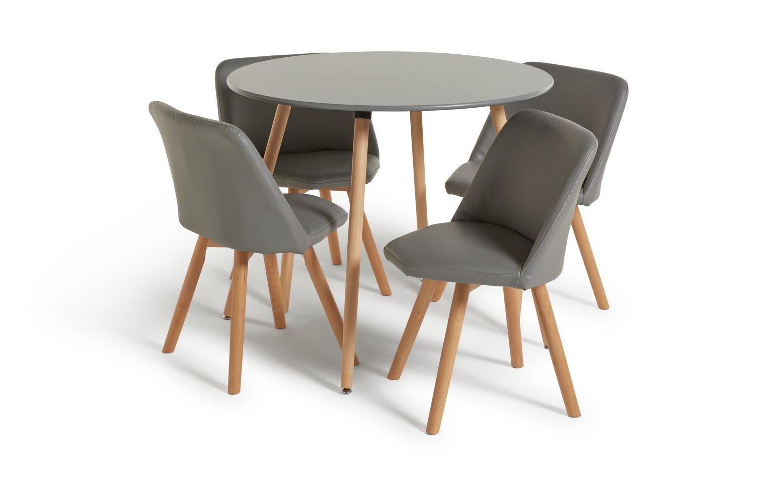 Buy Argos Home Quattro Round Table U0026 4 Chairs   Grey | Space Saving Dining  Sets | Argos