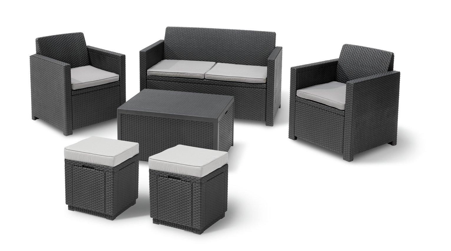 Keter Merano 6 Seater Rattan Effect Sofa Set With Storage