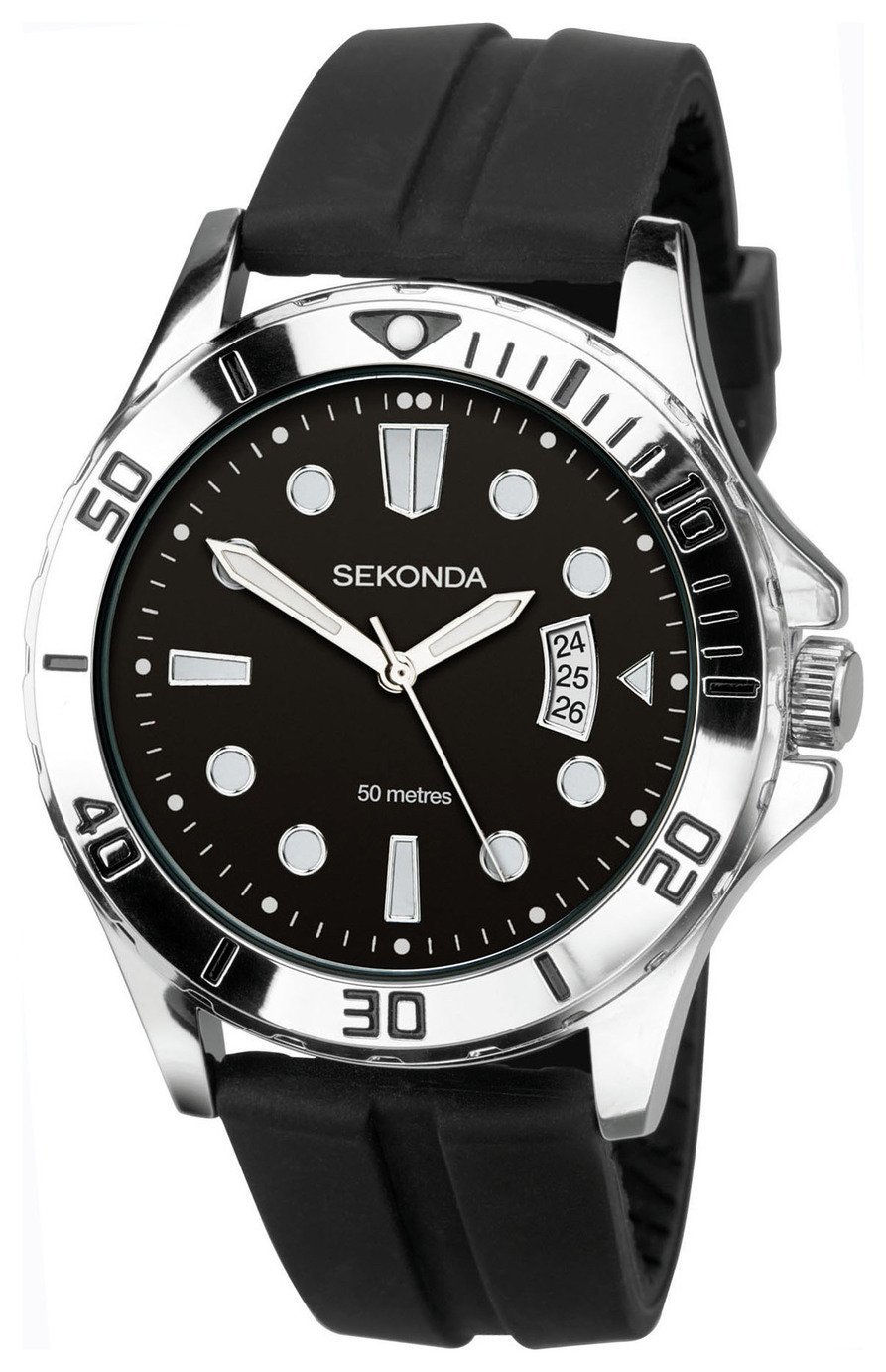 Sekonda Men's Black Silicone Strap Sports Watch