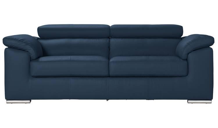 Buy Argos Home Valencia 3 Seater Leather Sofa - Blue   Sofas   Argos