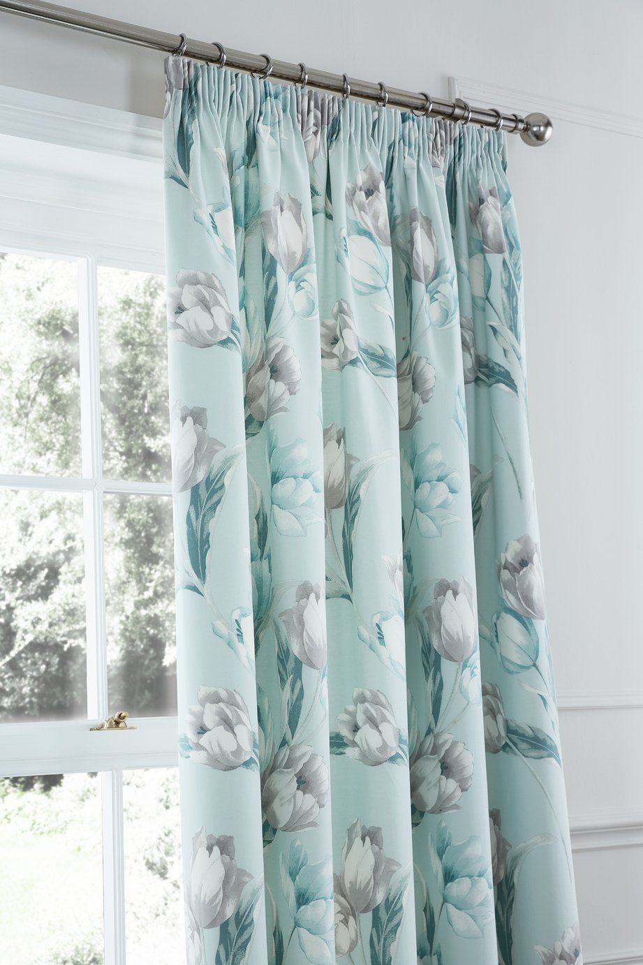 Tulip Lined Pencil Pleat Curtains - 168x183cm - Duck Egg