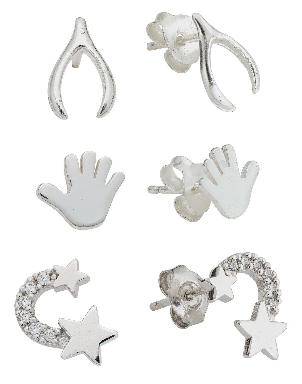 Revere Sterling Silver Star, Wishbone, Hand Studs - Set of 3