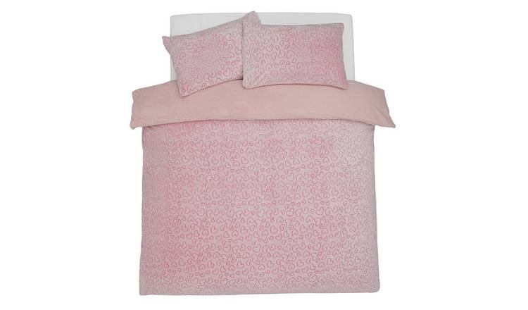 Argos Home Heart Fleece Bedding Set - Single